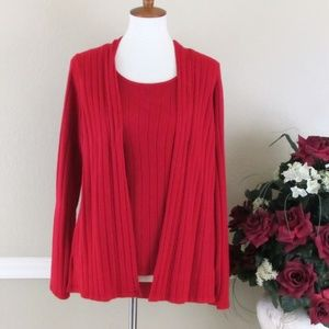 White Stag Red Knit Sweater with Attached Cardigan
